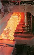 c1960 Chrome Postcard; Red Hot Ingot, Gary Steel Works, Gary IN Unposted