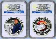 2-COIN Set 2015 Star Trek ENTERPRISE JONATHAN ARCHER & NX-01 Silver $1 NGC PF70