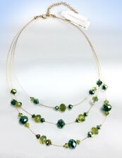 CHARTER CLUB Gold-Tone Multi Row GREEN TEAL Bead Illusion Necklace