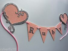 Sparkly glitter room bunting with name, personalised room decor, flags