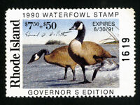 US Duck Rhode Island Stamps # 2a VF Signed Scott Value $72.50