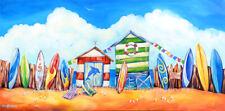 DEBORAH BROUGHTON ART Original Acrylic Surf Shacks Beach Painting