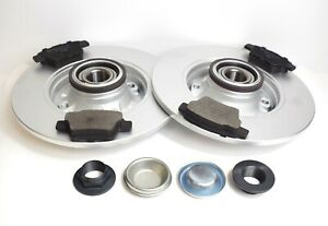 PEUGEOT 207 NEW REAR BRAKE DISCS AND PADS + FITTED WHEEL BEARINGS & ABS RINGS