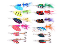 12pcs Fishing Spinner Lures Kit Crankbait  Rooster Tail Spoon Bass Trout Walleye