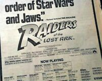 Best RAIDERS OF THE LOST ARK Film Movie Opening Week AD 1981 L.A. Newspaper