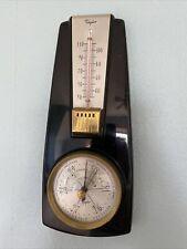Vintage Mid Century Modern Taylor Thermometer Barometer Black Plastic