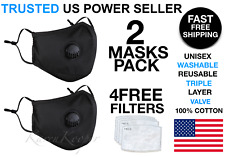 2 Reusable Washable Cotton Cloth Face Mask with Valve / Pocket + 4 PM2.5 Filters