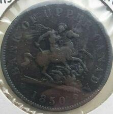 1850 Colonial Canada 1 penny token coin, PC-6A2 BR-719 w/ dot