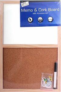 Cork & Dry Wipe Combination Notice Board Combo Message Memo Pen + Pins 450x300mm