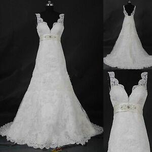 V-Neck Lace Empire Wedding Dress White Ivory Sleeveless Bridal Ball Gown