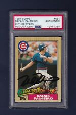 Rafael Palmeiro signed Chicago Cubs 1987 Topps Rookie baseball card Psa/Dna