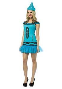 Crayola Crayon Women's Halloween Costume Dress & Hat NEW Blue Sizes 4-10