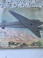Vintage Greeting Card Get well Silver Die Cut Airplane Conundrums