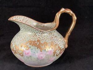 Antique Jean Pouyat Limoges JPL Porcelain Hand Painted Creamer Gold Signed LLB