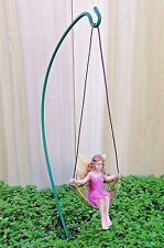 Miniature Dollhouse FAIRY GARDEN ~ Swinging Leaf Fairy Girl on Hook Pick ~ NEW