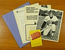 Willie Mays 1970 Adirondack 600 Homerun Packet 8x10 Photo Letter Booklet