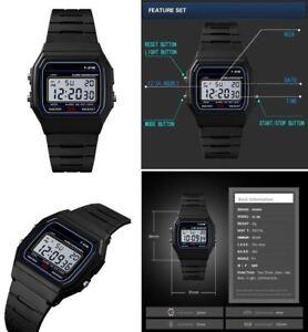 Classic/Retro/Vintage 70's/80's F-91W Unisex Digital LCD Watch With Black Strap
