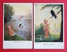 2 x Künstler AK Gemälde Bin gleich fertig - Kind mit Storch  ( 34452