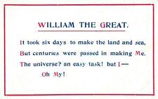 WILLIAM THE GREAT c1910 COMIC POSTCARD