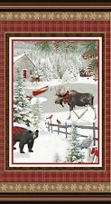 Rustic Charm 2 ply Flannel By The panel 24.5 x43inches Moose Bear Winter Cabin