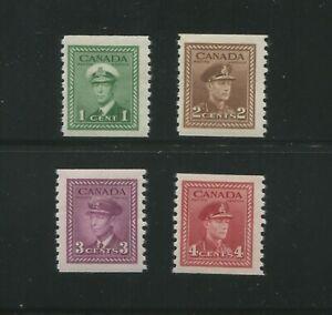 1948 Canada Postage Stamp #278-281 Mint Lightly Hinged F/VF OG Coil Set