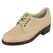 Mujer Equity Beis Leather Zapatos Con Cordones OYSTER Talla RU 3.5 EE Fit