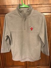 Antigua Chicago Bulls Fleece Pullover SweatShirt 1/4 Zip Grey Gray Women's M