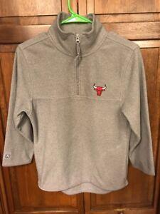 Antigua Chicago Bulls Fleece Pullover SweatShirt 1/4 Zip Grey Gray Women's M