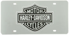 harley davidson motorcycle acrylic mirror license plate tag car Grey Bar Shield