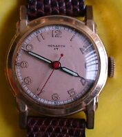 VINTAGE 1940'S MONARCH MENS WATCH 17 JEWELS SWISS MADE  VERY GOOD CONDITION