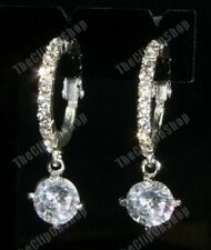 3cm CLIP ON crystal HOOP rhinestone CZ drop EARRINGS