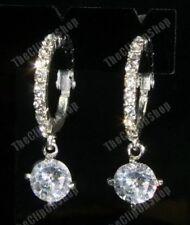 3cm Clip En Aro De Cristal Pendientes de Gota de diamantes de imitación CZ