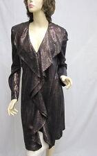 St John EVENING NWOT Bronze Black Ruffle COAT Dress SZ 6 8
