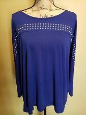 NWT Womens Calvin Klein Blouse Shirt Top Royal Blue 3/4 Sleeves Studs Plus 2X