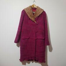 Odd Molly Size 3 ( Aus 16 ) Pink Wool Blend Coat Faux Fur Collar