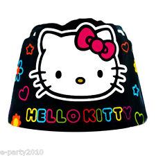 HELLO KITTY Neon Tween PAPER CROWNS (8) ~ Birthday Party Supplies Favors Sanrio