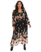 JOANNA HOPE Rose Print Maxi Dress Black  UK 22 US 18 EUR 50  (CC39-4)