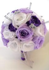 17 piece Wedding Flowers Bridal silk Bouquets LAVENDER WHITE LIGHT PURPLE SILVER