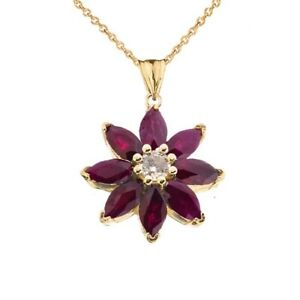 Solid Gold 10k/14K Ruby and Diamond Daisy  Pendant Necklace