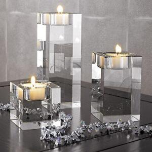 Crystal Cylinder Vases Tea Light Candles Holder Wedding Centerpieces Decor 1 Set
