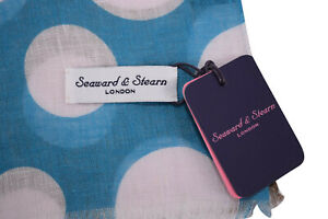 Seaward & Stearn NWT Linen Scarf In Teal and Brown with Large White Polka Dots