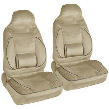 Set of 2 High Back Car Seat Covers w/ Built-in Lumbar Support Comfort - Beige