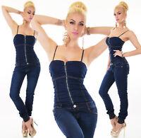 Jeans Donna Overall Pantaloni Tuta intera senza spalline DENIM ELASTICO corsetto