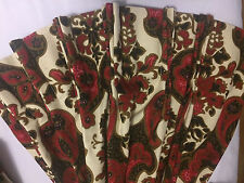 VTG CUSTOM MADE PINCH PLEATED 1970's PAISLEY WHITE  RED BLACK AND BROWN CURTAINS