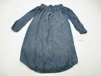 new ISABEL MATERNITY Women's Size M Off Shoulder Chambray Blue Shift Dress DR332