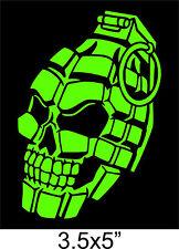 "GRENADE SKULL STICKER Hand PINEAPPLE SKELETON tactical 5"" cut Vinyl Decal GREEN"