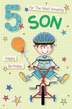 Amazing Son Age 5 ~  Luxury 5th Birthday Card - Riding Bike  FREE 1ST CLASS POST