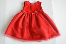 Carter's Girls Red Holiday Size 12 months Christmas Dress Velvety Tulle EUC