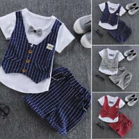 Toddler Baby Kids Boys Bow Vest T shirt Tops Plaid Shorts Set Outfits Clothes UK