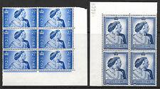 More details for sg 493-494 1948 silver wedding commemorative set unmounted mint marginal blocks